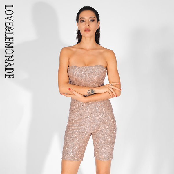 LoveLemonade Rose Gold Wrapped Chest Slim Fit Colla perline Materiale Playsuit LM81567GOLD