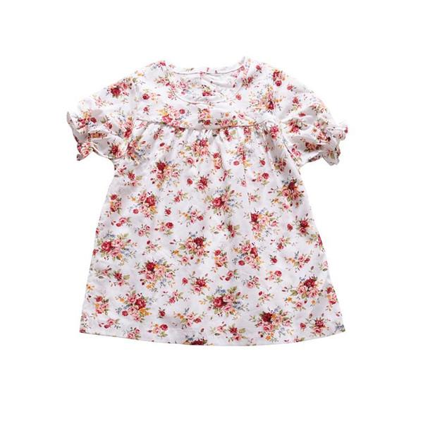 Elegant Infant Baby Girl Floral Dress Short Sleeve Flower Print Party Princess Dress Vintage Ruffle Toddler Kids Clothes Outfit