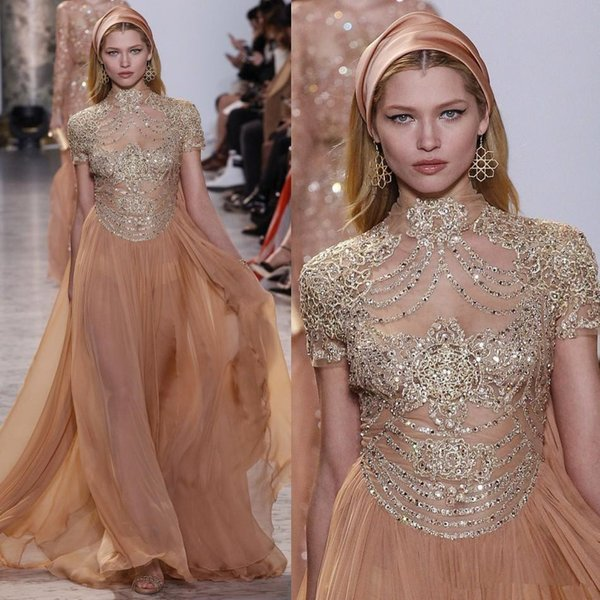 Elie Saab Runway Evening Party Gowns with Short Sleeves Beaded Applique High Collar Sexy Prom Dresses Celebrity A Line Chiffon Dress