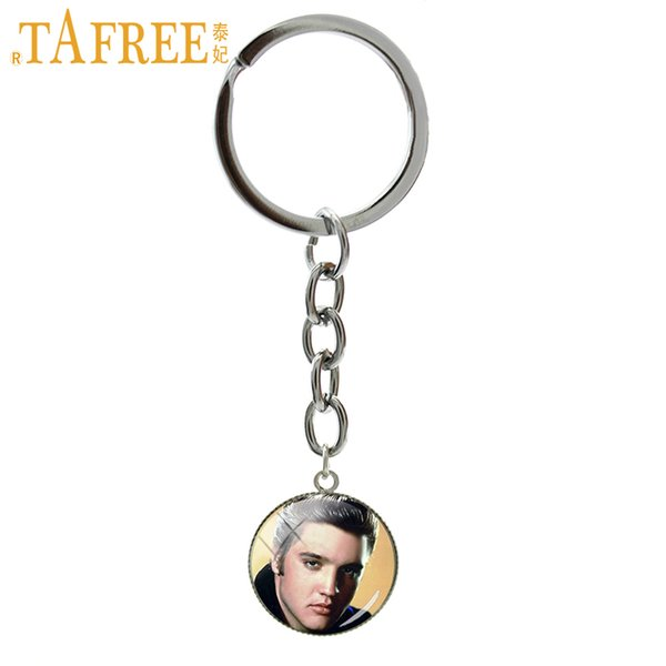TAFREE 2019 New Fashion keychain American famous Rock Music Singer Elvis Presley picture ring jewelry father birthday gift NS488