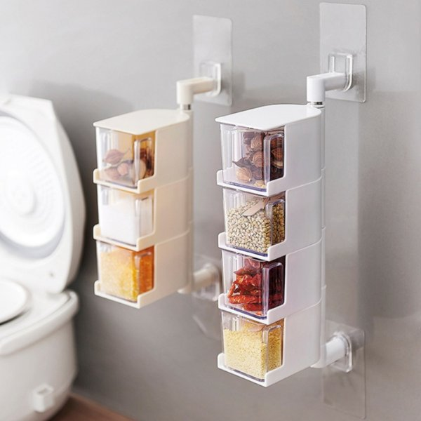 2019 Multi Tier 360 Degree Vertical Wall Mounted Rotating Condiment Storage  Box With Lid Seasoning Container Kitchen Accessories Tool From Fair2015, ...