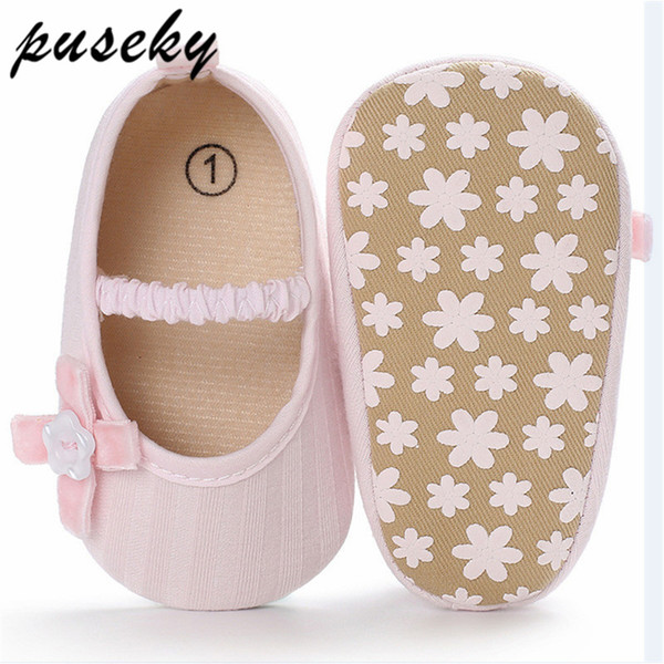 Puseky Flower Infant Baby Shoes Moccasins Newborn Girls Flower Soft Sole Kid Girls Boy Baby Crib Shoes Prewalker 0-18 Months