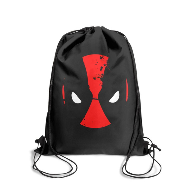 Drawstring Sports Backpack Deadpool head logo Splashing inkcute convenient sinch sack Travel Fabric Backpack