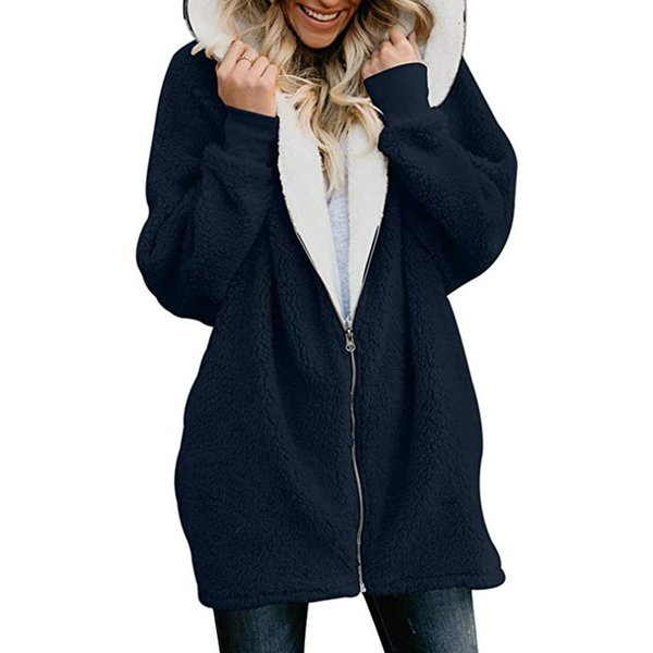 Acquista 2019 Giacca Da Donna Lunga Basic Zip Primavera Autunno Con Cappuccio Cappotti E Giacche Donna Caldo Plus Size Felpa Pelliccia Cappotto