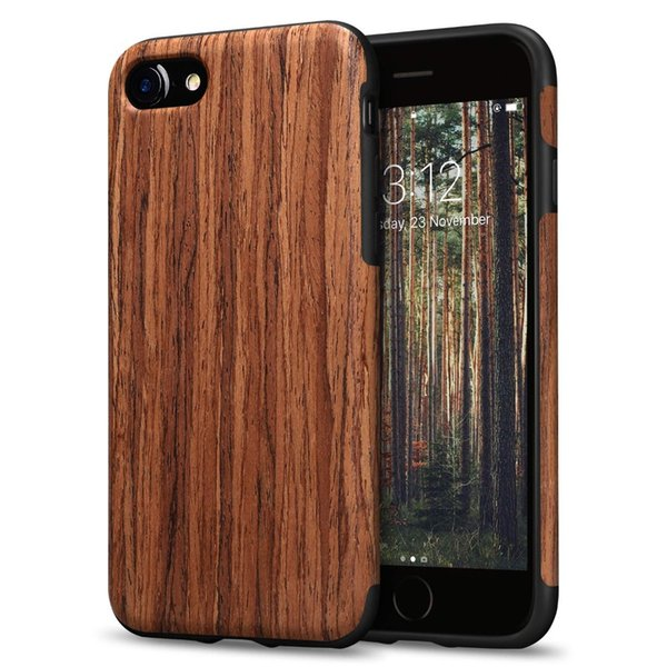 Wood Phone Case for iPhone 7 8 Plus Hybrid Wooden TPU Silicone Slim Carved Back Cover for iPhone X XS MAX XR Coque