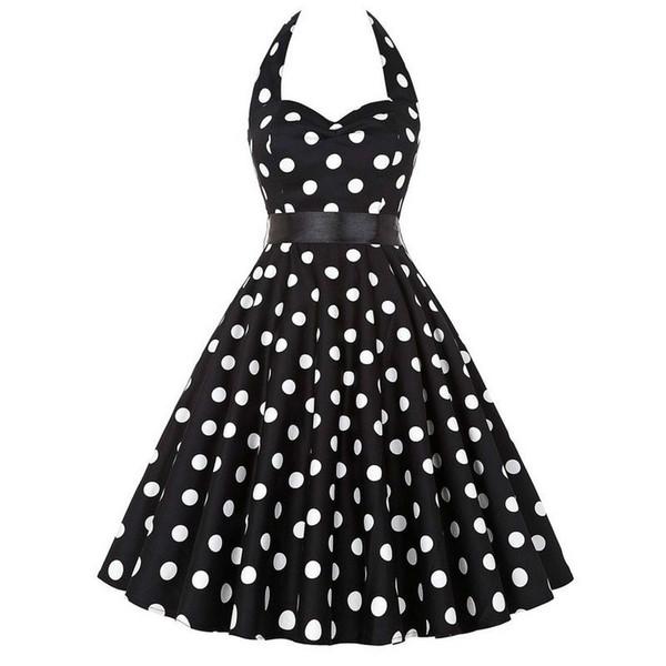 Plus Size Polka Dot Dress Women Vintage Swing
