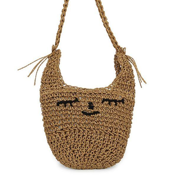 Woven Bag Female Bag Shoulder Messenger Sweet Cute Straw Fashion Beach