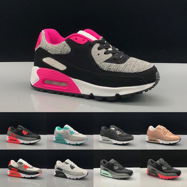 Nike air max 90 Кроссовки Обувь классические мальчик девочка дети дети кроссовки черный красный белый спортивный тренер на воздушной подушке поверхность дышащая спортивная обувь