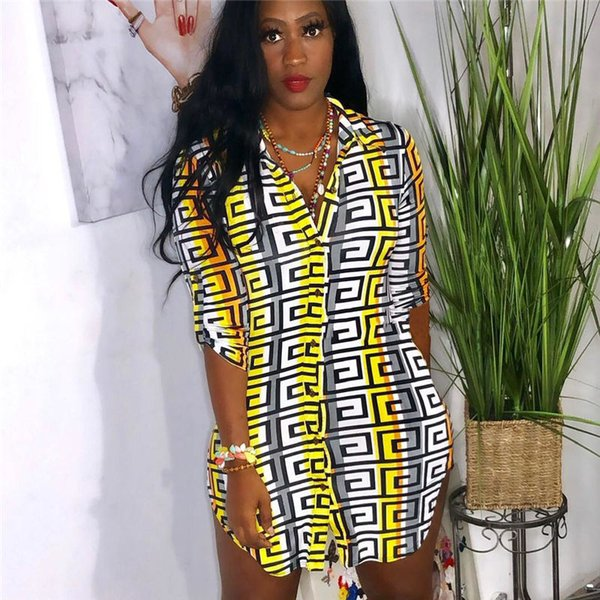 New Contrast Color Womens Shirt Dresses Summer Button Print Designer Pencil Dresses Casual Fashion Female Apparel