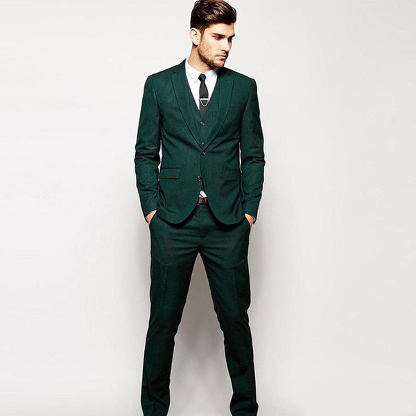 Cheap Three Pieces Green Men's Formal Tuxedos Two Button Notched Lapel Causal Clothes Groommen Wedding Suits Sets 2019 dsy167