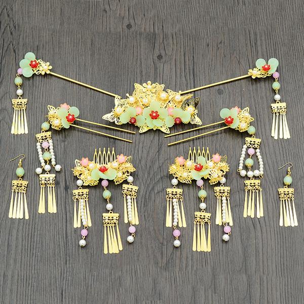 Étnico color oro palillos del pelo con cuentas borla paso shakes boda nupcial estilo chino tocado de la joyería conjunto traje horquillas regalo JCE062