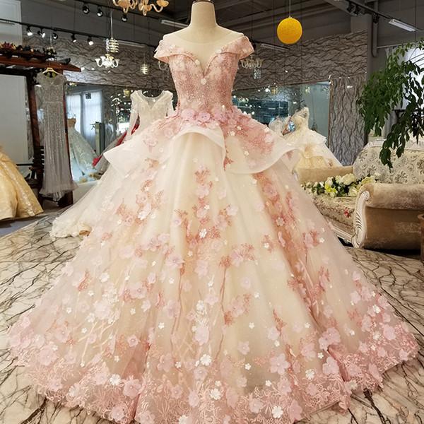Color 3D Flores Vestido de noche Cap manga O-cuello Lace Up Back Ball Vestido de fiesta para una niña encantadora China Envío rápido Vestido de ocasión