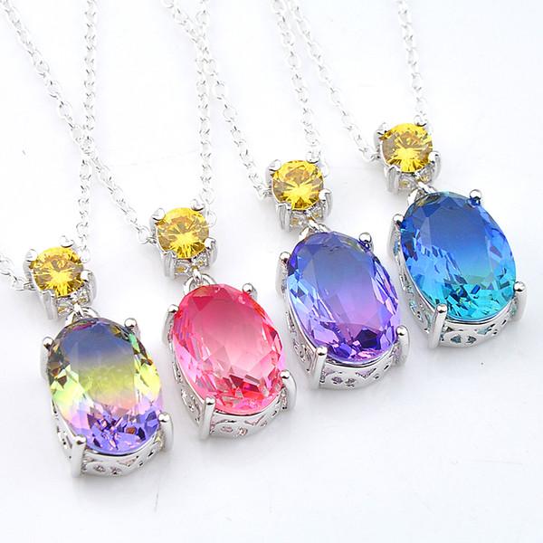 Luckyshiney Hot Sale 10 Pcs/Lot Christmas Gift Oval Bi Color Tourmaline Citrine Gemstone Silver Pendants for Necklaces Women