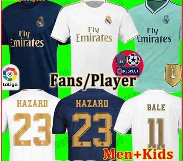 HAZARD #23 FANS PLAYER VERSION Real Madrid soccer jerseys 19 20 MILITAO camiseta 2019 2020 VINICIUS football shirt men + kids kit away third