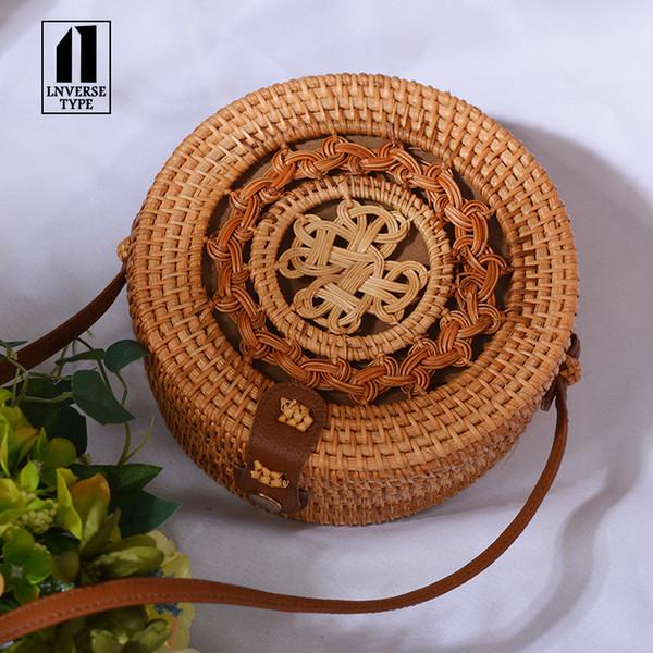 Handmade Woven Beach Handbag For Women Bag Travel Handba Round Straw Bag Women Rattan Woven Summer Beach Shoulder Crossbody BagsMX190824