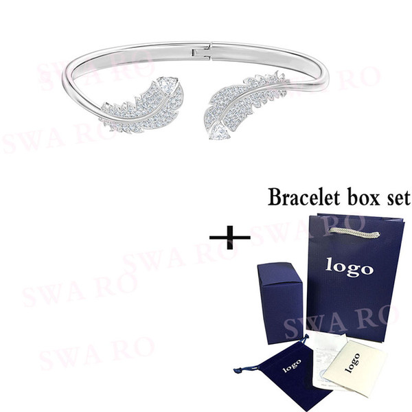 swa 2019 autumn and winter new delicate feather nice white gold crystal bracelet elegant to send his girlfriend the gift