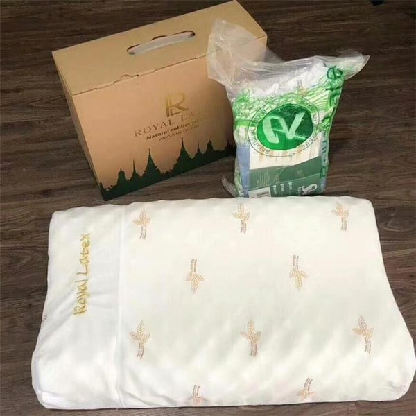 Thai Royal Latex Pillow Bump Massage Granules R Letter Natural Pillow Vacuum Package Give Embroidered Pillow Covers As Gift