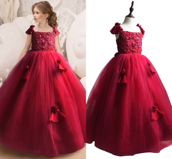 Fashion Burgundy Ball Gown Flower Girls Dresses For Wedding Lace 3D Floral Applique Tulle Kids Prom Pageant Cheap First Communion Dress