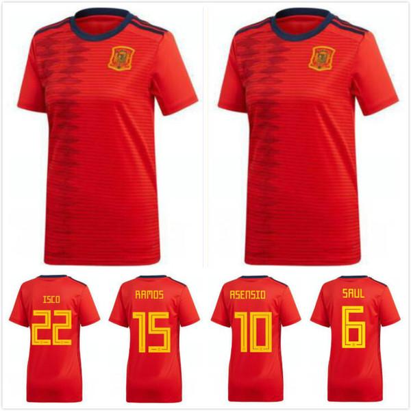 2019 copa do mundo Espanha mulheres em casa vermelho Camisa de futebol 2019 mulheres Espanha camisa de futebol 2019 A.INIEST ISSO ASENSIO menina uniformes de Futebol