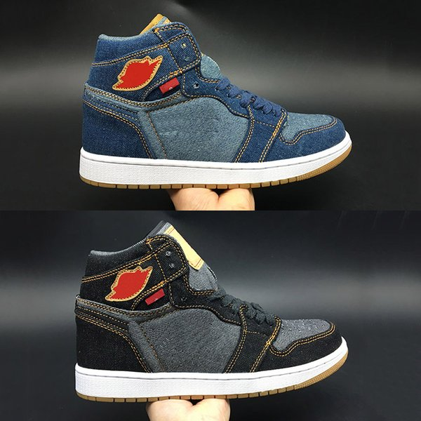 1 Union Jeans Breathable Basketball Shoes Men Limited Designer Top Quality Blue Black Cow Sports Fashion Sneakers Size40-45