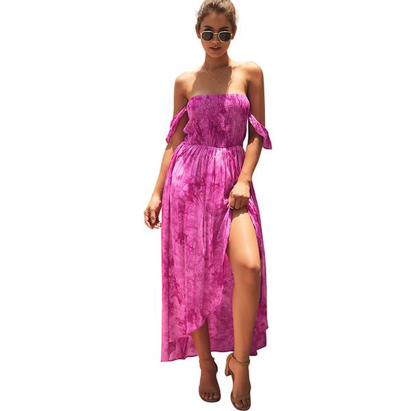 Abito estivo maxi da donna bohemien con spalle scoperte Abito estivo spaccato 2019 Beach Holiday Long Yellow / Red / Blue Clothing
