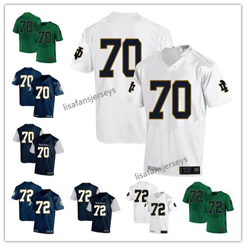 Mens Notre Dame Fighting Irish Jerseys 70 Zack Martin 72 Nick Martin 2019 Navy White Green USA Flag College Football NCAA Jersey
