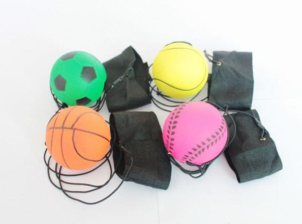 63mm Throwing Bouncy Ball Rubber Wrist Band Bouncing Balls Kids Funny Elastic Reaction Training Balls Antistress Toys SN3033