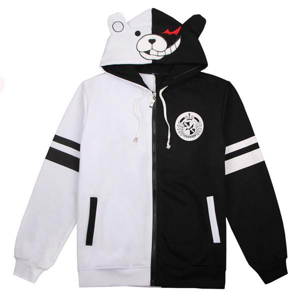 Veste À Capuche Danganronpa Monokuma Cosplay Costumes 3xl Danse Noir Blanc Ours Pull Cos Daily Hiver À Manches Longues Coton Épais Sweat-shirt