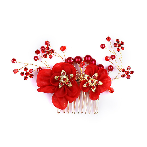Luxury Bridal Wedding Hair Accessories Pearl Hair Comb Silver Rhinestone Flower Hair Clips Women Jewelry Handmade Headpiece