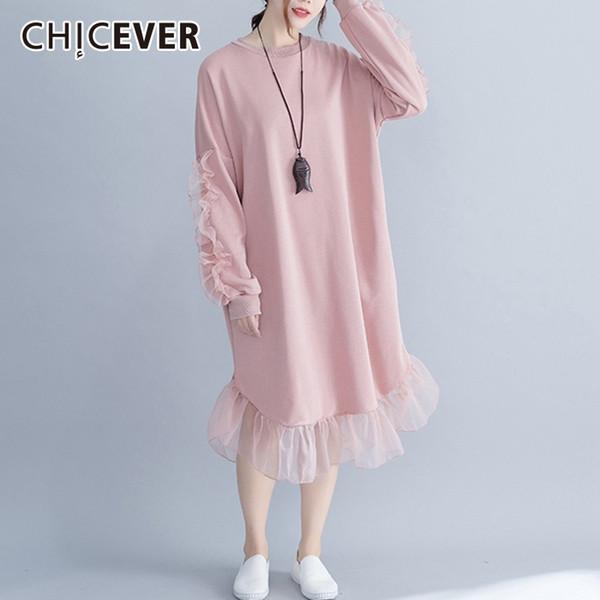CHICEVER Patchwork Maille Robes Femmes O Cou À Manches Longues Lâche Midi Robe Femme Automne Mode Casual Vêtements Nouveau 2018