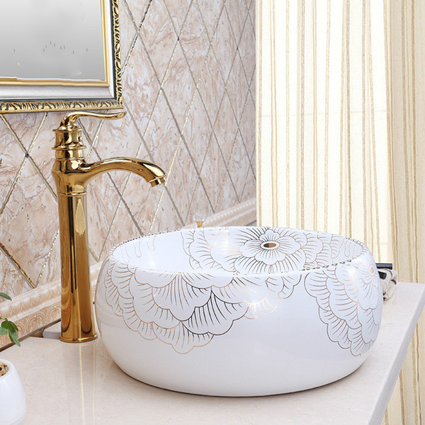 2019 China Painting Peony Ceramic Painting Art Lavabo Bathroom Vessel Sinks  Round Counter Top Washbasin Material From Yi07, $417.09 | DHgate.Com