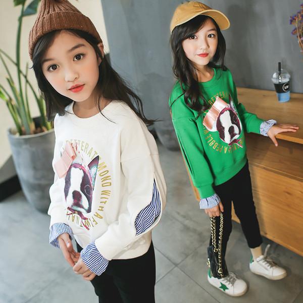 Konfeksiyon 2018 Yeni Bahar Sezonu Koreli Çocuk Kazak Tam Pamuk Moda Kız Giyim