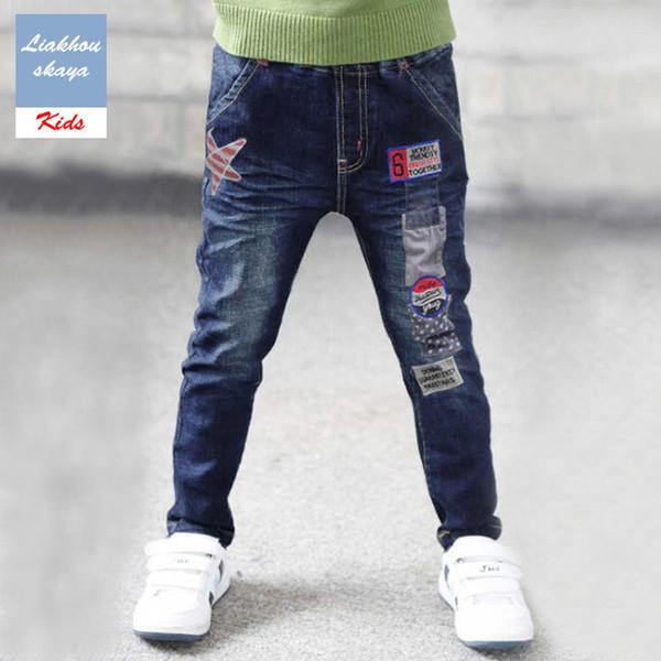 Liakhouskaya Children Spring Autumn Jeans For Boy Pants Kids 2019 Fashion Hight Quality Teenager Denim Warm Pants Korean Clothes Y19051504