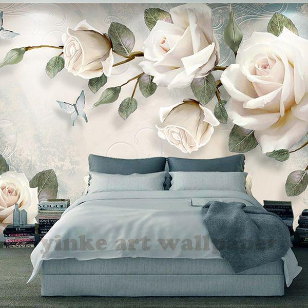 Пользовательские Фото обои живопись 3D белая роза Цветы Настенные Росписи Гостиной ТВ Диван Фон Обои Современный Декор Дома Комната
