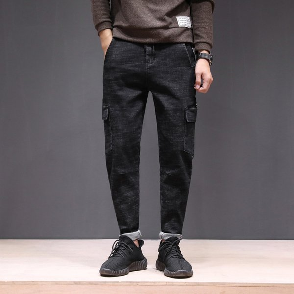 2018 New Men Jeans cargo pants baggy trousers with high stretch large size for Autumn Winter Jeans black harem soft men