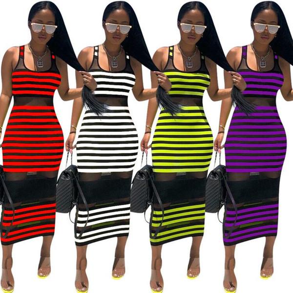 Mulheres Verão Sheer Midi Vestidos Sem Mangas Longas Saias Listrado Mid-Calf Vestido Com Painéis Sexy Bodycon Vestido de Praia Plus Size Roupas S-2XL 477