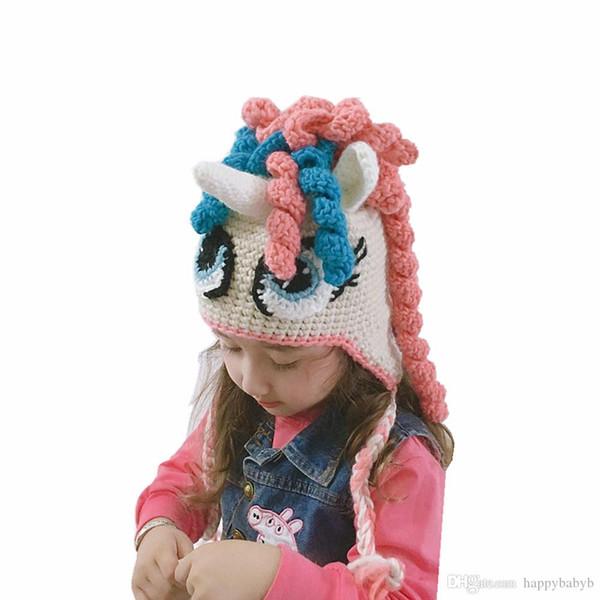 Niños colorido unicornio sombreros de los bebés de punto caliente del invierno de los casquillos Animal de la historieta del cuerno del unicornio Gorros calentador del oído del casquillo del traje de Cosplay
