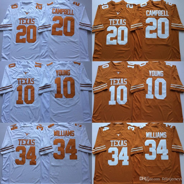 34 Ricky Williams Texas Longhorns 10 Vince Young 20 Earl Campbell Stitched College Football Maillots Livraison Gratuite