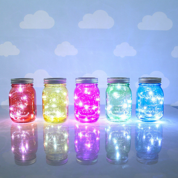 Stunning LED Light LED Lamp Fairy Solar Powered For Mason Jar Lid Insert Color Changing Garden Home decor Valentine's Day Eve rave party