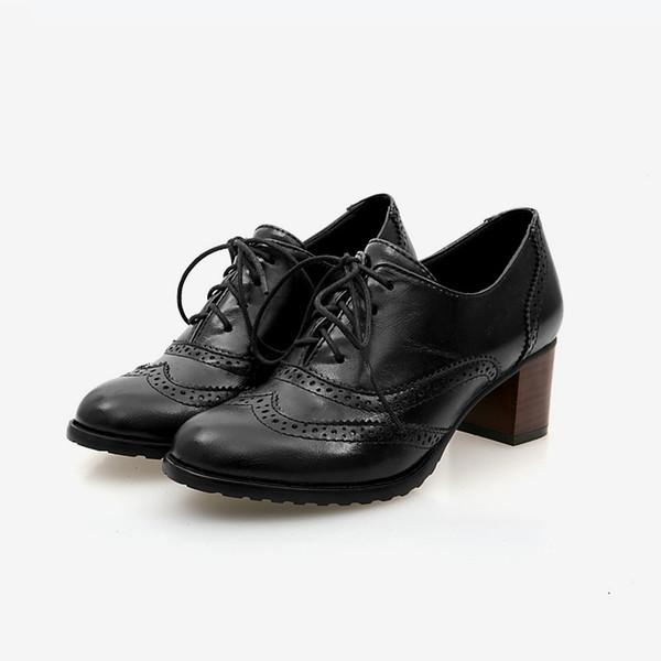 Printemps Automne Femmes Shallow Brogue Chaussures Vintage Chunky Talon Découpé Oxford Chaussures Dames À Lacets Up Mode Féminine