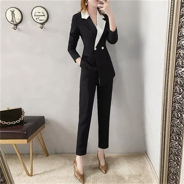 Fashion Pant suit women Autumn/spring New High end Suit female British style temperament two-piece Leisure women