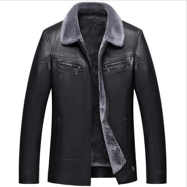 VXO New Russian Winter Giacca In Pelle Nera Uomo di Alta qualità Faux Fur Warm Giacche In Pelle Cappotti Maschili Jaqueta De Couro Masculina
