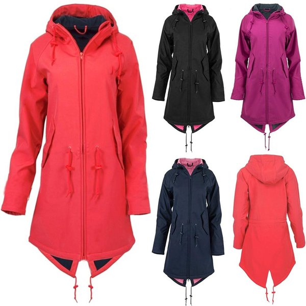 2019 Kış Yeni Geliş Kadınlar Katı Yağmur Su geçirmez Ceket Coat Açık Hoodie Uzun Palto Artı boyutu Duster Coats Elbiseler