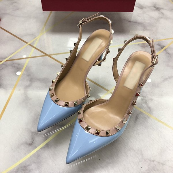 Designer Pointed Toe with Studs high heels genuine Leather rivets Sandals Women Studded Strappy Dress Shoes slingbacks pumps