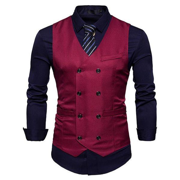 New Men's Vest Slim Fit Double Breasted Dress Suit Vests Fashion Slim Fit Men Casual Vest Waistcoat Gilet Homme Costume 03