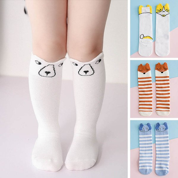 6bbd1d4e6 Cute Cartoon Children Socks stripe Baby Socks cotton kids Knit Knee High  Socks best Kids Sock