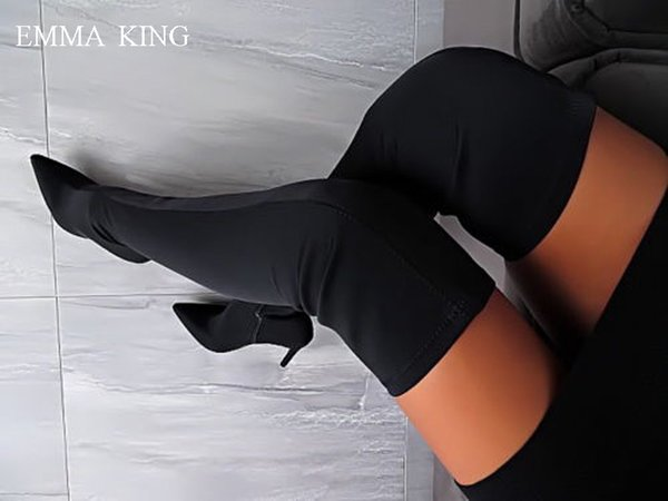 Sexy Women Hohe Stiefel Stretch Fabric Over the Knee Boots Luxury Black High Heels Thigh High Boots Spring Autumn Women Shoes
