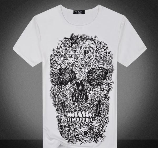 camisa de luxo Designer t para os homens de flores cópia do crânio camiseta de manga curta marca ocasional camiseta homens vestir