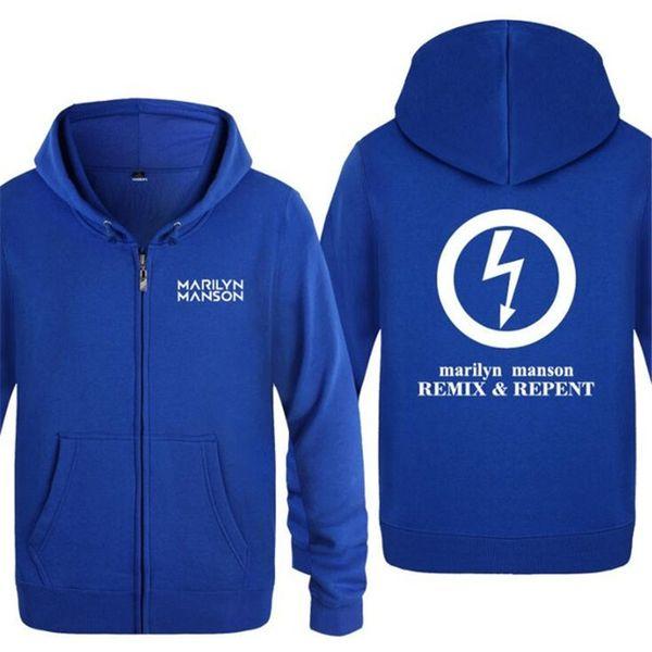 Mens Hoodies Rock Marilyn Manson Printed Hoodies Men Hip Hop Fleece Long Sleeve Zipper Jacket Coat Oversized Skate Sweatshirts