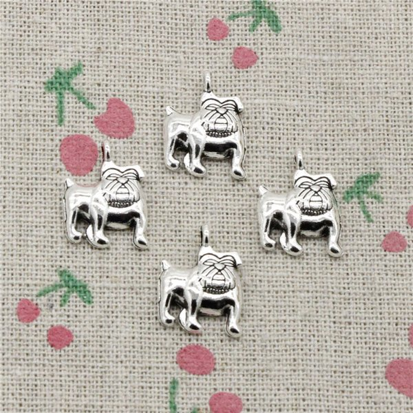 120pcs Charms dog pug bulldog 17*13mm Tibetan Silver Vintage Pendants For Jewelry Making DIY Bracelet Necklace